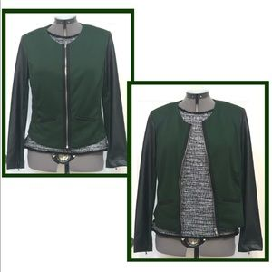 🍀Sunny Leigh green blazer with faux leather